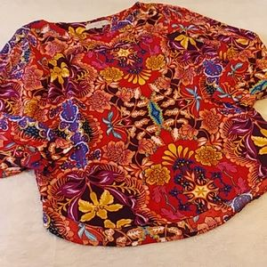 Loft Jewel Tone Floral Open Arm Long Sleeve Blouse